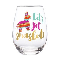 Let 's Get Smashed 。–20oz Stemlessワインガラス–カラフルなwithゴールド箔