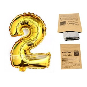 40 Number 2 Helium Foil Digital balloons ,birthday holidays weddin party supply Golden by Changzhong