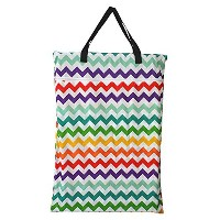 Large Hanging Wet/dry Cloth Diaper Pail Bag for Reusable Diapers or Laundry (Rainbow Chevron) by...