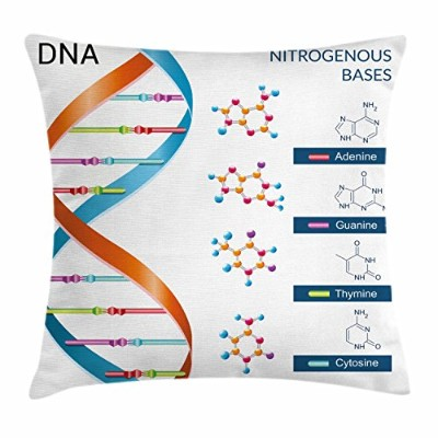 (50cm W By 50cm L, Multi 1) - Educational Throw Pillow Cushion Cover by Ambesonne, DNA Bases...