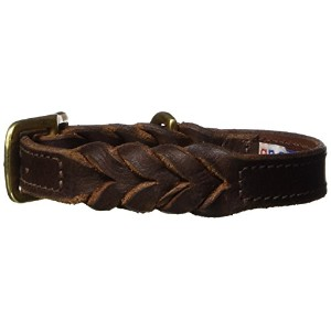 Leather Braided Dog Collar, 16 x 3/4, Brown, 100% Genuine Oiled Leather. Boston Terrier, Pug &...