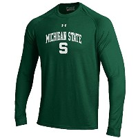 Michigan State Spartans Poly Dry HeatGear NuTechパフォーマンスロングシャツby Under Armour XL グリーン