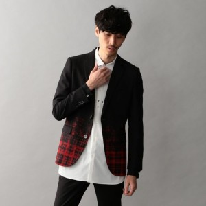 【GUILD PRIME ギルドプライム】 【Education from Youngmachines】MENS フロッキーチェックジャケット ブラック メンズ