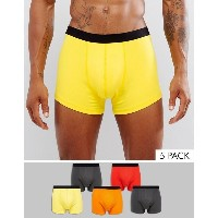エイソス メンズ トランクス アンダーウェア ASOS Trunks In Multi Colours With Black Waistband 5 Pack SAVE Multi