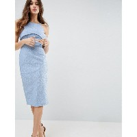 エイソス レディース ワンピース トップス ASOS Lace One Shoulder Bardot Pencil Midi Dress Pale blue