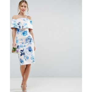 エイソス レディース ワンピース トップス ASOS WEDDING Pink Base Floral Structured Midi Pencil Dress Multi