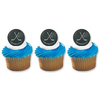 Hockey Puck Ring Cake Cupcake Topper (24-Pack) by DecoPac