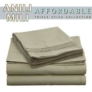 Anili Mili's Triple Stitch Embroidery Affordable 4 PC Bed Sheet Set - Queen Size, Sage Green by...
