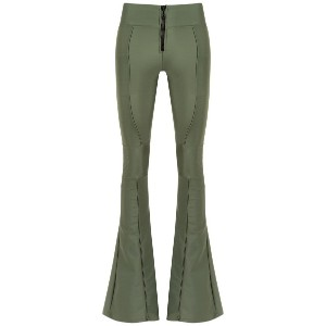 Andrea Bogosian embroidered flared trousers - グリーン