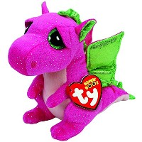 New TY Beanie Boos Cute Buddy - DARLA the Pink & Green Dragon (Glitter Eyes) (Medium Size - 9 inch)...