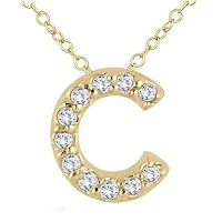 "silvernshine Jewels 14 K Gold over 1 / 10 ct D / vvs1ダイヤモンド"" C ""イニシャルペンダントwith 18 ""チェーンネックレス"