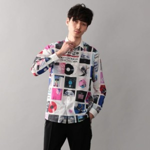 【GUILD PRIME ギルドプライム】 【Education from Youngmachines】MENS レコードプリントシャツ ホワイト メンズ