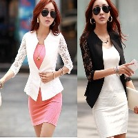 Fashion Womens Long Sleeve One Button Lace Blazer Casual Jacket Suit Coat