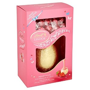 Lindt - Lindor - White Chocolate Egg with Strawberries & Cream Truffles - 285g