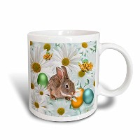 3dローズDoreen Erhardt Easterコレクション – Easter Bunny Daisy Garden with Colored卵と蝶 – マグカップ 11-oz Two-Tone...
