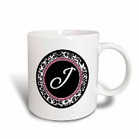 3dローズInspirationzStore Monograms – 文字Jスタイリッシュなモノグラム円 – Girly個人初期PersonalizedブラックDamask withホットピンク –...