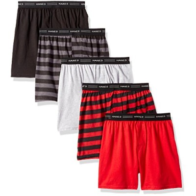 Hanes B539P5 Boy Exposed Elastic Knit Boxer - Assorted Solids, Small