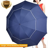 fit-inバッグゴルフ傘コンパクト&軽量、63インチ雨/ Wind ResistantダブルキャノピーVented golf-sized Large Travel Umbrella with...