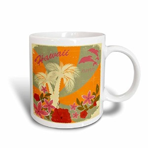 3drose Spiritualawakenings _ Nature – ハワイ印刷花Palm Trees Sunset – マグカップ 11-oz Two-Tone Red Mug mug...