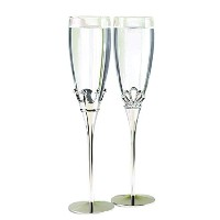 Hortense B. Hewitt Wedding Accessories Champagne Toasting Flutes, King and Queen, Set of 2 [並行輸入品]
