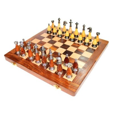 "14 "" x 14 "" Collectible木製折りたたみトラベルチェスゲームボードセット+木製&真鍮Crafted Pieces Chessmen ( 7日以内)"