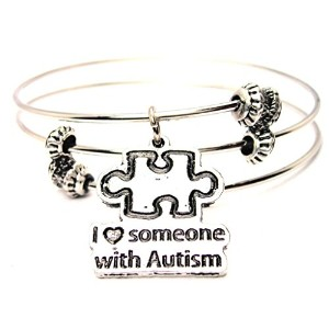 """ChubbyChicoCharms I Love Someone With Autism Expandable Wire Tripleスタイルバングルブレスレット、2.5"""""""