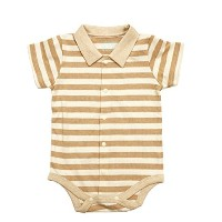 Cigogne BeBe 100% Cotton Stripe Short Sleeve One-Piece Beige 6~9 Month by Cigogne BeBe