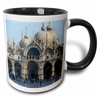 (330ml) - 3dRose Outside of St. Marks Cathedral in Venice Italy Two Tone Black Mug, 330ml, Black...