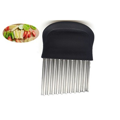 Wavy Crinkle Cutting Tool Serrator Salad Chopping Knife and Vegetable French Fry Slicer, Steel...