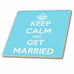 CT _ 161158 EvaDane – 面白い引用 – Keep Calm and Get Married、ライトブルー – タイル 4-Inch-Ceramic ct_161158_1