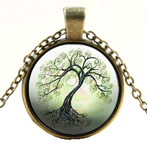 "ヴィンテージ真鍮Murano Glass Family Tree of Life Pendant with 18 ""ネックレス"