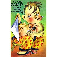 Comical Cartoon–Changing Aウェットおむつ、It 's One Damp Thing後別 36 x 54 Giclee Print LANT-25248-36x54