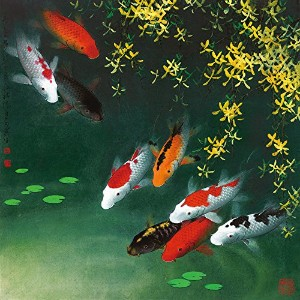 Home Art wall Decor Feng Shui Fish Koi Painting Picture Printed on canvas jdw018ホームアート壁の装飾風水魚鯉絵絵画キャン...