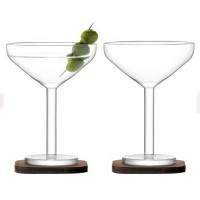 LSA CITY BARCOCKTAIL GLASS & WALNUT COASTER カクテルグラス【2個セット】クリア