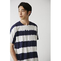 【AZUL BY MOUSSY】タイダイボーダークルーネック半袖プルオーバーL 柄NVY
