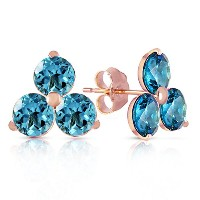 K14 Solid Gold Stud Earring With Blue Topaz