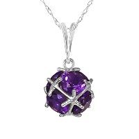 K14 White Gold Necklace with Natural Amethysts