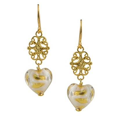 Just Give Me JewelsゴールドメッキホワイトSwirl gold-foilハート型Venice Murano Glass Dangle Earrings
