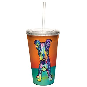 Tree-Free Greetings 98208 Dean Russo Cutie Boy Double-Walled Cool Cup with Reusable Straw, 16-Ounce...