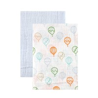 Hudson Baby Muslin Swaddle Blankets, Blue Balloons by Hudson Baby