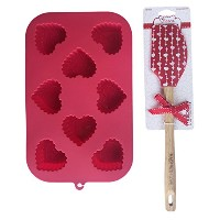 Valentine 's Day 8-cavityシリコンMini Treat mold-scallop Hearts withレッドシリコン製スパチュラ2 Piece Bakingバンドル