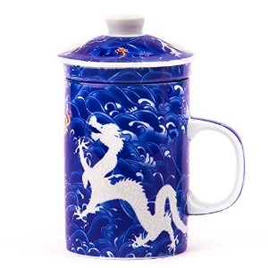 中国オーシャンブルーホワイトEmperor Dragon Mug with Tea Infuser and Tea Cup Lid