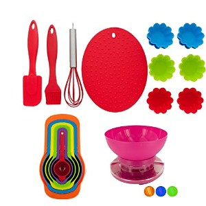 Kids Bakingセット – 18ピースReal Baking Supplies for Kids Bundle – Includes aキッチンスケールwith aリムーバブルボウルを混在原料を...
