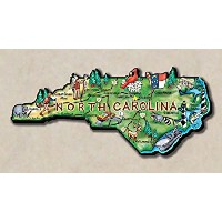 North Carolina the Tarheel State Artwood Jumbo Fridge Magnet by Saddle Mountain Souvenir