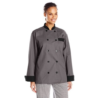 Uncommon Threads 0404-6403 Newport Chef Coat 10 Buttons in Slate/Black Trim - Medium