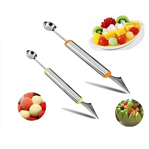 Melon Baller、2個ステンレススチール多機能フルーツツールセットDigスクープwith Fruit Carving Knife 2 in 1キッチンツールfor DIYフルーツサラダ...