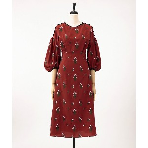 mame/マメ  Pedicel Embroidery Puff Sleeve Dress(MM18SS-DR047) TERRACOTTA 【三越・伊勢丹/公式】 レディースウエア~~ワンピース