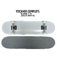YOCAHER コンプリートスケートボード/スケボー BLANK COMPLETE SKATEBOARD SOLID WHITE 7.75 スケボー 完成品 SK8