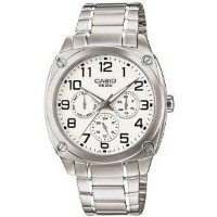 腕時計 カシオ Casio Men's MTP1309D-7BV Silver Stainless-Steel Quartz Watch with White Dial【並行輸入品】