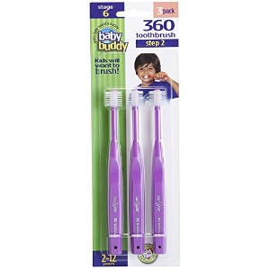 Baby Buddy 360 Toothbrush Step 2 Stage 6 for Ages 2-12 Years, Kids Love Them, Purple, 3 Count by...